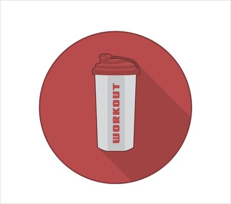 Icône de mode de vie Fittness avec symbole de bouteille de sport et texte d'entraînement. Fond de cercle rouge avec ombre portée Banque d'images - 89549982