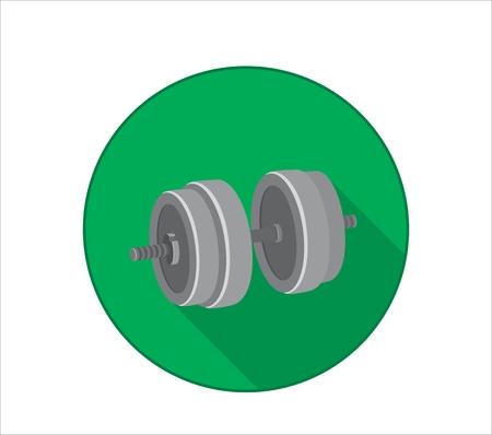 Icône plate d'haltère pour l'entraînement de force de bras. Fond vert avec une ombre. Illustration vectorielle Banque d'images - 89549984