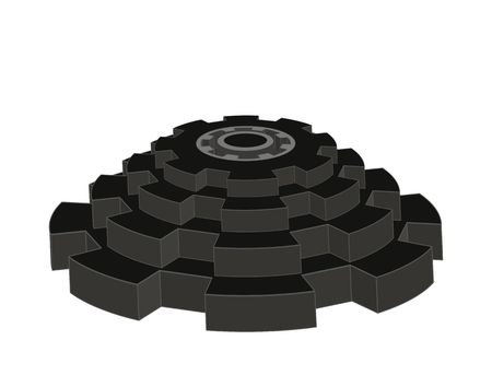 Vector 3d pyramid composed of Gear wheels. Black color isolated. Industrial symbol. Banque d'images - 122805472