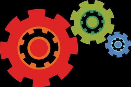 Flat vector icon of gear wheels different colors. Isolated. Setting. Construction item.