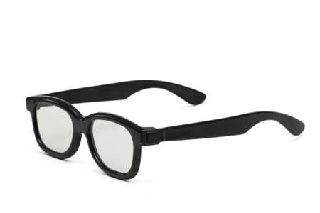 Black plastic glasses to watch films in 3D format isolated close up on white background photo
