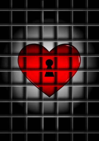 3D computer rendered illustration of red glossy heart behind metal bars in the spotlight