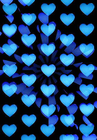 Burst of blue glossy hearts on black background Stock Photo