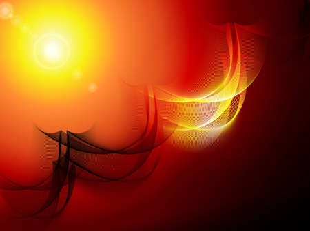 Fantasy background with abstarct curvy pattern and yellow sun with flare Stock Photo - 9754078