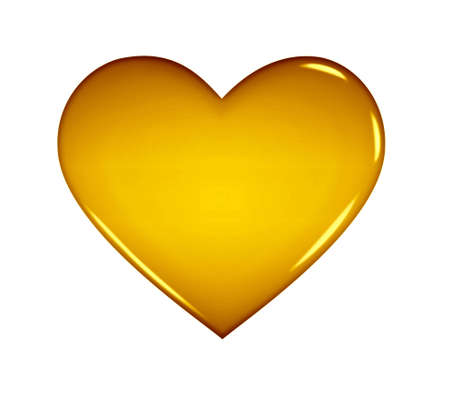 Computer rendered golden heart in 3D isolated on white background