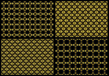 Set of four wallpapers with abstract repeating golden pattern photo