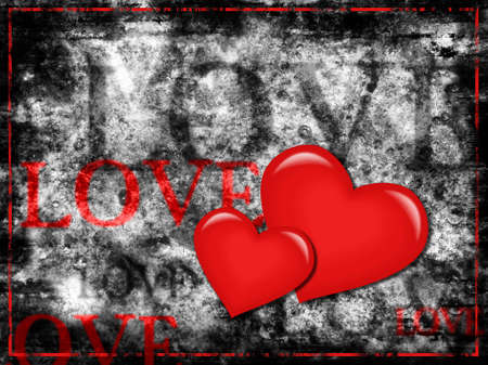 Two red 3D hearts and different size love words on rough textured grey grunge background photo