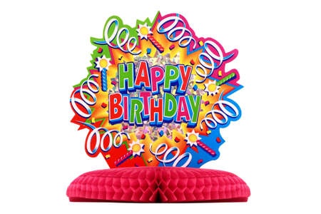 Close up of colourful cardboard birthday decoration on red stand isolated on white background Stock Photo