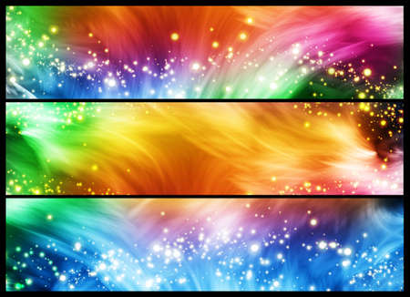 Set of three colourful banners with lines and sparkles