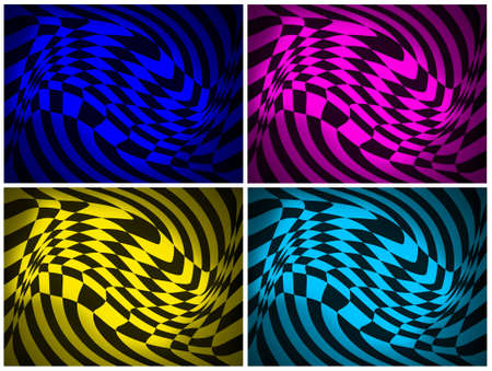 arty: Set of abstract backgrounds in four different colours with distorted checked pattern