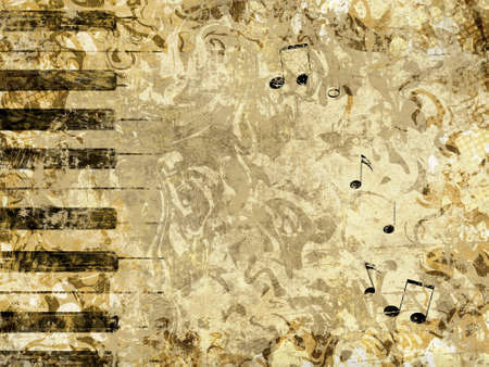 Abstract grunge style background with piano keys and notes