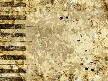 klavier: Abstrakt Grunge Stil Hintergrund mit Tasten eines Klaviers und Notizen