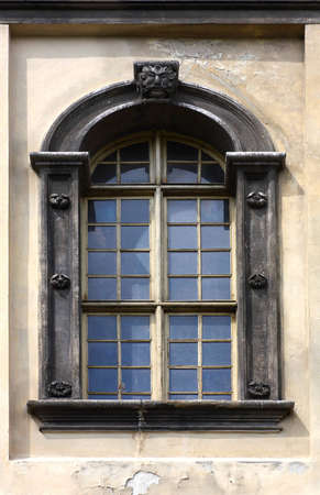 Close up of ancient church window from outside