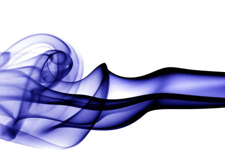 Abstract dark blue smoke wave isolated on white background Stock Photo