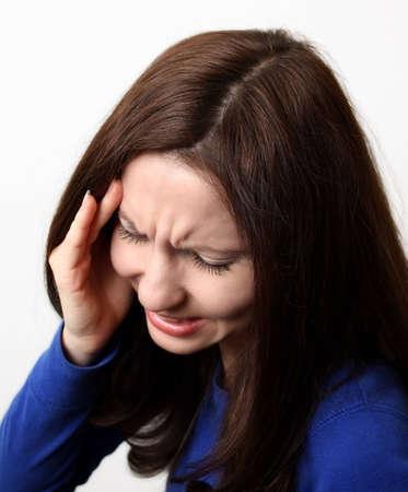 splitting headache: Strong headache Stock Photo