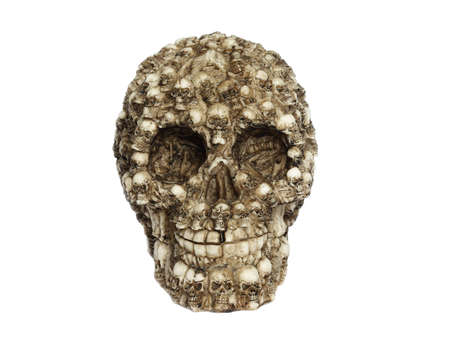 Plastic scary scull isolated on white background