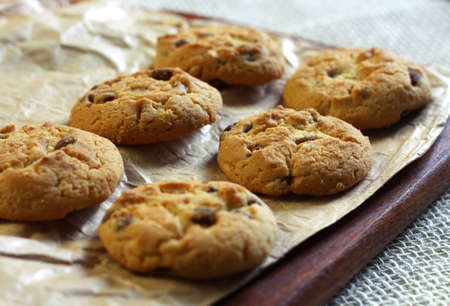 Crispy chip biscuits with chocolate and hazelnuts
