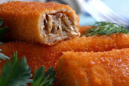 Deep-fried croquettes with mushrooms and white cabbage