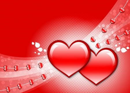 Wallpaper with red background, two big glossy hearts, half tone and lines