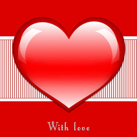 Postcard in red color with large glossy heart in the middle