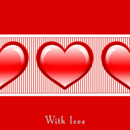 Postcard in red color with three glossy hearts in the middle
