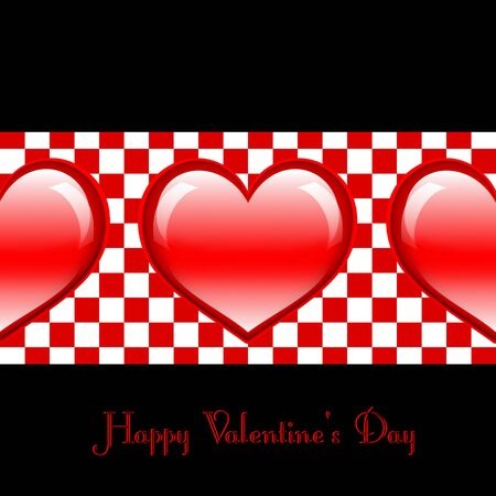 Postcard in black color with three glossy red hearts in the middle Stock Photo