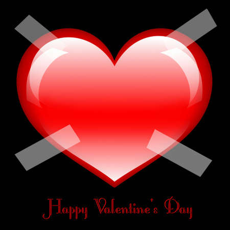 Postcard in black color with large glossy red heart in the middle
