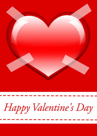Postcard in red color with large glossy red heart in the middle