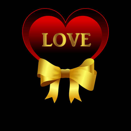 Valentine s day card with red heart and large golden shiny bow on black background