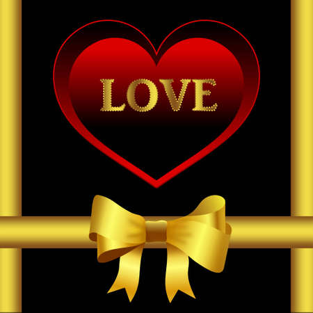Card design with large red heart and golden shiny bow on black background