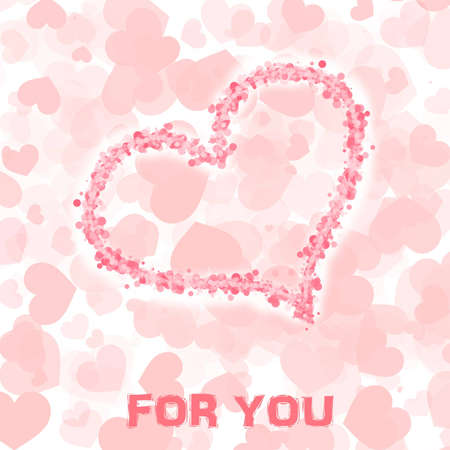 Valentine day card in pastel colours with hearts