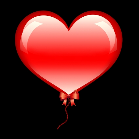 Large glossy heart with red bow and sign love on black background