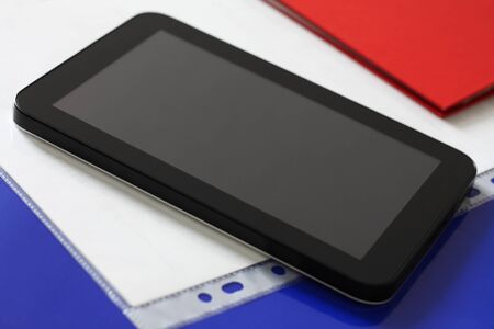 Close up of black tablet computer