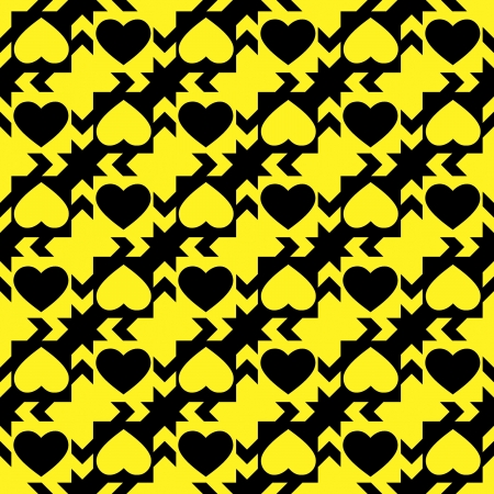 Background with seamless abstract pattern with hearts in yellow and black colour Stock Photo - 17941107
