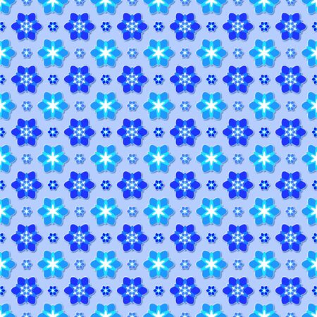 Background with seamless pattern made of flowers in blue colour