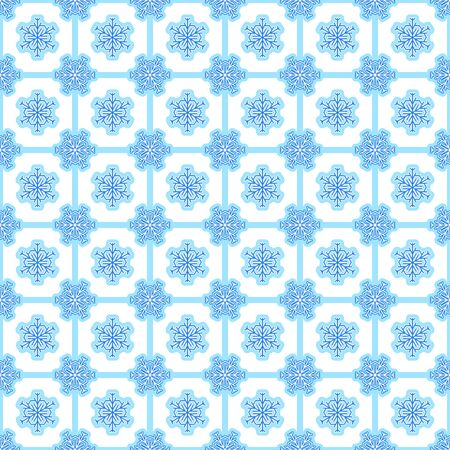 Background with seamless pattern made of snowflakes in blue and white colours