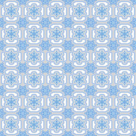 Background with seamless pattern made of snowflakes in blue, white and grey colours