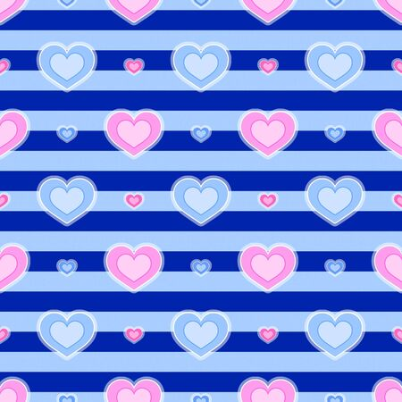 Background with seamless pattern made of hearts in blue and pink colour Stock Photo