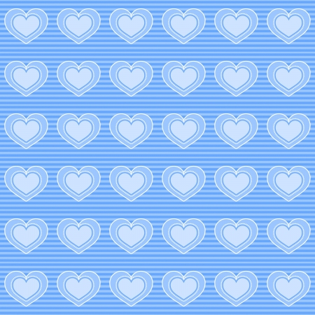 Background with seamless pattern made of hearts in blue colour Stock Photo
