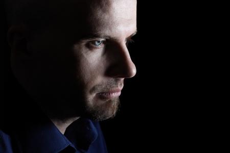 Close up of man face looking sad Stock Photo