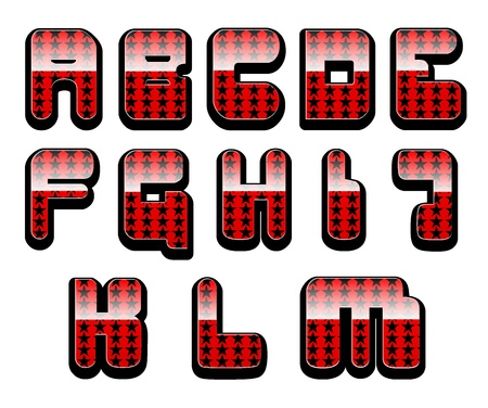 First half of the set of shiny red alphabet with stars