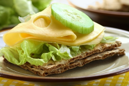 Close up of sandwich made of cheese, lettuce, cucumber and