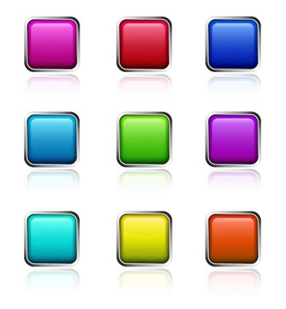 Set of icons for computer and applications in nine different colours on white background Stock Photo