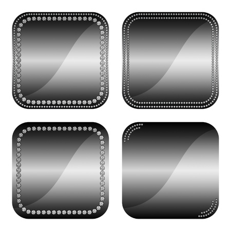 Set of elegant square black web buttons with gem stones