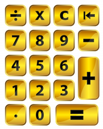 Set of square golden calculator buttons