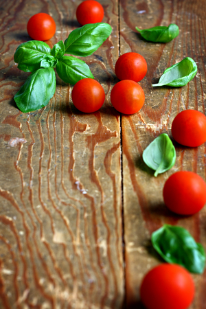 Fresh leaves of basil placed with cherry tomatoes on wooden background