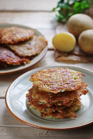 Close up of crispy homemade hash browns prepared at home