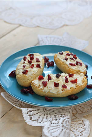 Bruschetta with cottage cheese and dried cranberries over light wooden background