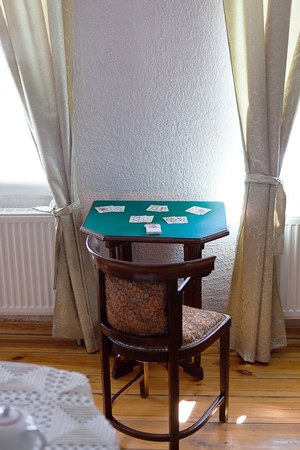 solitaire: antique table for folding solitaire in interior