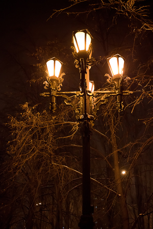 architectural lighting design: street light with four lights at night